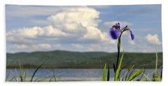 Beach Towel featuring the photograph Birch Lake Iris by Cathy Mahnke