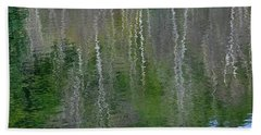 Birch Trees Reflected In Pond Beach Towel