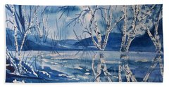 Birches In Blue Beach Towel