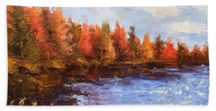 Beach Sheet featuring the painting Birchwood Lake by Jason Williamson