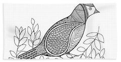 Bird North Cardinal Beach Towel by Neeti Goswami