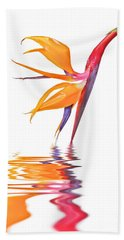 Bird Of Paradise Reflections Beach Towel