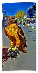 Bird Of Prey At Boat Show 2013 Beach Sheet