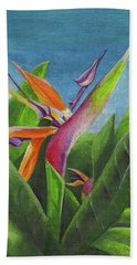 Beach Towel featuring the painting Hawaiian Bird Of Paradise by Thomas J Herring