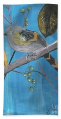 Bird On A Branch  Beach Towel by Francine Heykoop