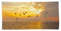Beach Towel featuring the photograph Birds In Lake Erie Sunset by David Coblitz