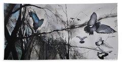 Birds Beach Towel by Maja Sokolowska