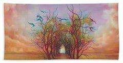 Birds Of Rainbow Mist Beach Towel by Anna Ewa Miarczynska