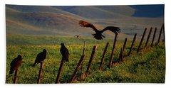 Birds On A Fence Beach Sheet by Matt Harang