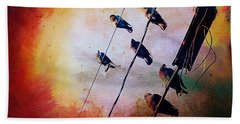 Beach Sheet featuring the photograph Birds On A Wire by Micki Findlay
