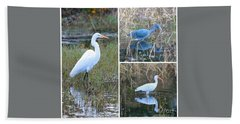 Birds On Pond Collage Beach Towel by Carol Groenen