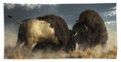 Beach Towel featuring the digital art Bison Fight by Daniel Eskridge
