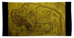 Golden  Buffalo Beach Towel by Larry Campbell