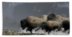 Bison Stampede Beach Towel by Daniel Eskridge