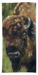 Bison Study - Zero Three Beach Sheet by Lori Brackett