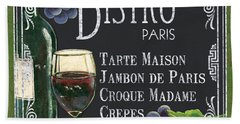 Bistro Paris Beach Towel by Debbie DeWitt