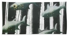 Black And White Fish Beach Towel