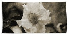 Black And White Flower With Texture Beach Towel