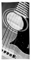 Black And White Harmony Guitar Beach Towel
