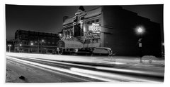 Black And White Light Painting Old City Prime Beach Towel by Dan Sproul