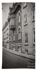 Black And White Old Style Photo Of Old Quebec City Beach Towel