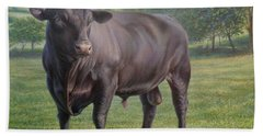 Black Angus Bull 2 Beach Towel