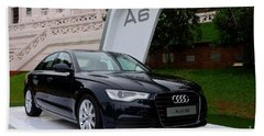 Black Audi A6 Classic Saloon Car Beach Towel
