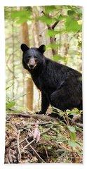 Black Bear Smile Beach Sheet by Debbie Green