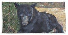 Black Bear - Wildlife Art -scruffy Beach Towel