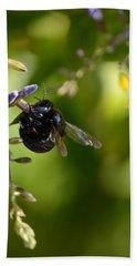 Black Bumblebee Beach Towel by Debra Martz