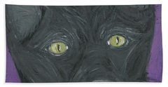 Beach Towel featuring the painting Black Cat by Ania M Milo