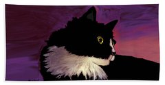 Black Cat On Purple Horizontal Beach Towel