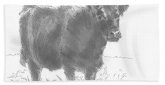 Black Cow Pencil Sketch Beach Towel