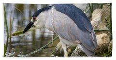 Black-crown Heron Going Fishing Beach Towel by David Millenheft