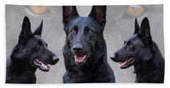 Black German Shepherd Dog Collage Beach Sheet by Sandy Keeton