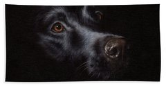 Black Labrador Painting Beach Towel