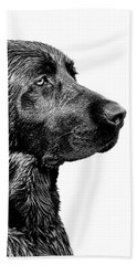 Black Labrador Retriever Dog Monochrome Beach Towel by Jennie Marie Schell