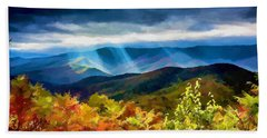 Black Mountains Overlook On The Blue Ridge Parkway Beach Sheet by John Haldane