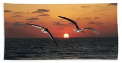 Black Skimmers At Sunset Beach Towel by Tom Janca