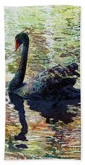 Black Swan Beach Towel by Hailey E Herrera