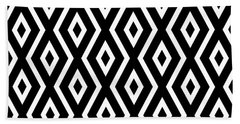 Black And White Pattern Beach Towel by Christina Rollo
