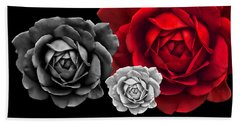 Black White Red Roses Abstract Beach Towel