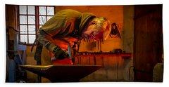 Blacksmith In Torresta Beach Towel by Torbjorn Swenelius