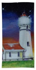 Beach Towel featuring the painting Blanco Lighthouse by Thomas J Herring