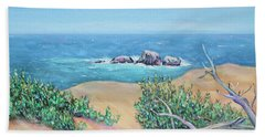 Beach Towel featuring the painting Bleached Cedar And Ocean Rocks by Asha Carolyn Young