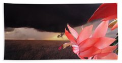Blooms Against Tornado Beach Towel