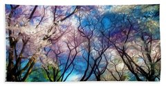 Blossom Cherry Trees Over Spring Sky Beach Sheet