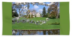 Beach Towel featuring the photograph Blossom-framed House by Ann Horn