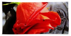 Beach Towel featuring the photograph Blossoming Red by Robyn King