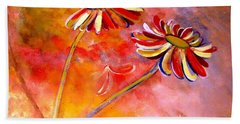 Beach Towel featuring the painting Blown Backward Fall Floral by Lisa Kaiser